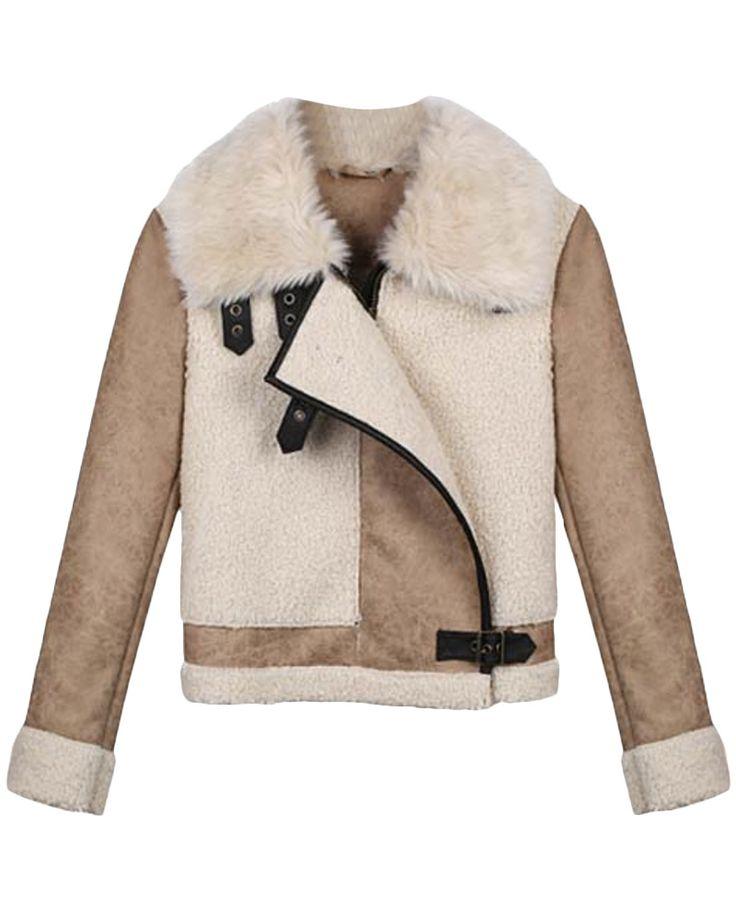 Fur-collar Fleece-seamed Buckled Biker Jacket | BlackFive