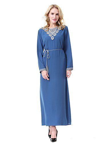 9239b2d4936 GladThink Femmes Musulman Manches longues Et Col Rond Islamique Maxi Robe  Bleu Roi XL