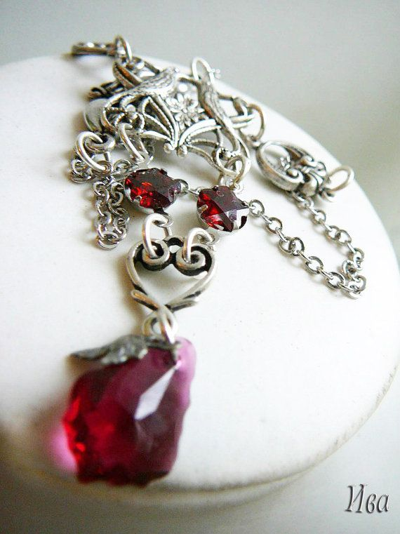 "Vintage style necklace ""Caprice"" silver plated brass, Swarovski crystal drops, fianites"