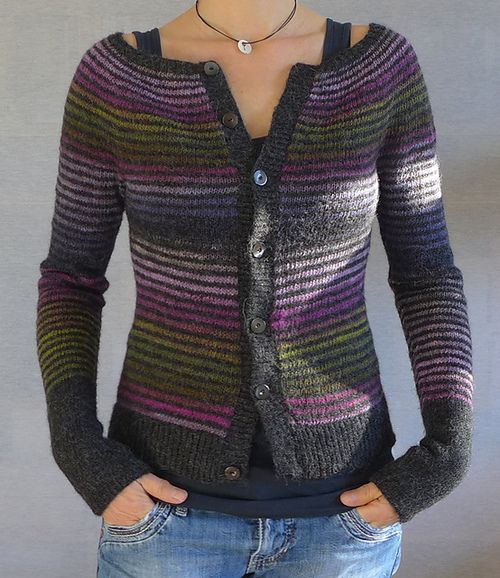 Isabelle Milleret's free pattern for the knit Mon Petit Gilet Raye cardigan, with instructions in English and French.