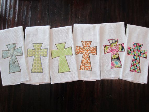 I love these!!! Trendy Cross Kitchen Towel by ChicADeeEmbroidery on Etsy, $12.00