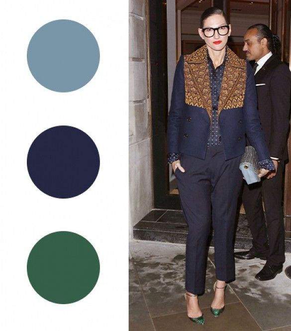 12 Fail-Proof Color Combos To Try For Winter via @WhoWhatWear ice blue + navy + forest green