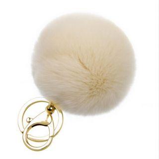 White pom-pom kulcstartó és táskadísz