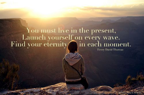 """You must live in the present, launch yourself on every wave. Find your eternity in each moment."" Henry David Thoreau"