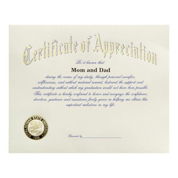 appalachian state university boone nc certificate of appreciation