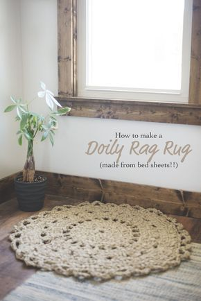 How to Crochet a Doily Rag Rug Made from Bed Sheets - Megmade with Love