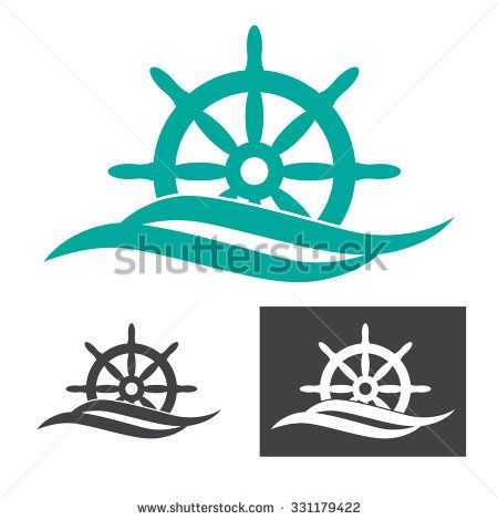 vector illustration of rudder emerges from sea wave logo for maritime companies - stock vector