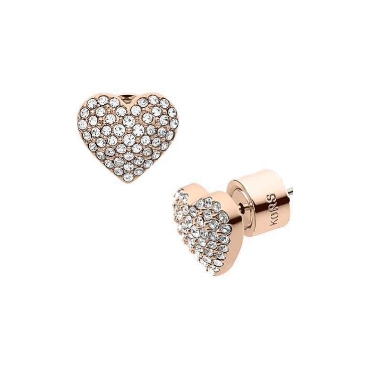 Michael Kors Pave Stud Heart Rose Golden Earrings Are Discount Now, Many Women'S Dream Will Come Ture With It!