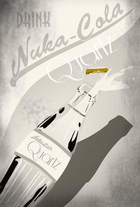 And this finishes the Nuka Cola set! This is an advertisement for Nuka Cola Quartz, one of the rarer types of Nuka Cola in the Fallout Universe. There is