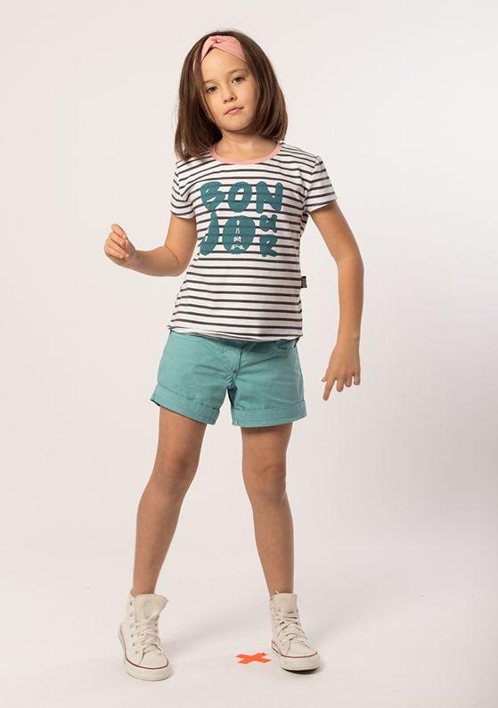 Headband - Twist: Peony Pink Top - Cap Sleeve: Indigo + Pure White Short - Classic 5 Pocket: Tide