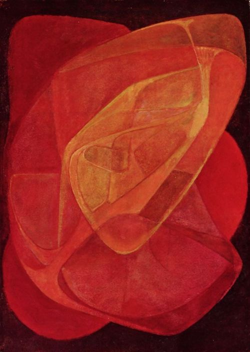 Naum Gabo (1890-1977) - Red Kinetic Painting, 1943 - Naum Gabo KBE, born Naum Neemia Pevsner was a prominent Russian sculptor in the Constructivism movement and a pioneer of Kinetic Art.