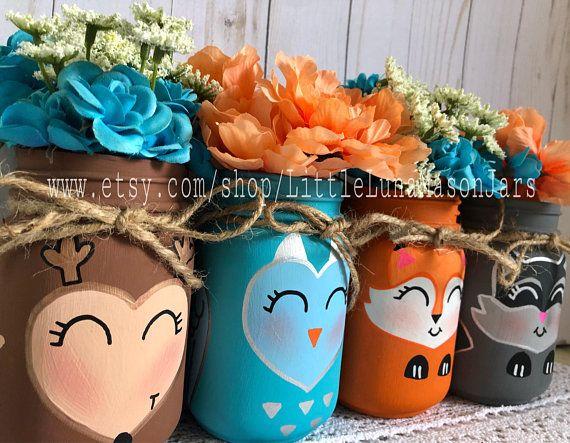 Woodland Wonderland Set Of 5 Pint Or Quart Glass Jars Baby Shower