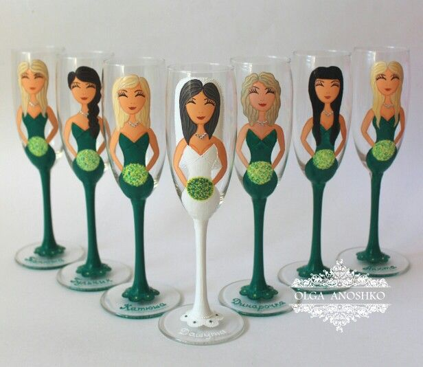 Glasses for a bachelorette party. Painting on glass