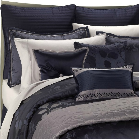 Our New Bed Set! I Love It So Much! Navy Blue And Silver