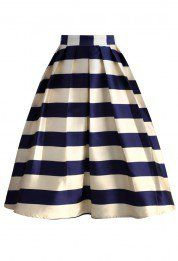 Marine Blue Striped Midi Skirt