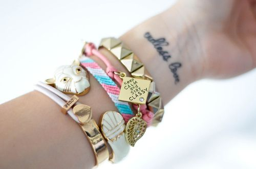 bracelets + endless love #tattoo: Wrist Tattoo, Arm Candy, Bracelets Tattoo, Stacking Bracelets, Cute Bracelets, Keep Calm, Fashion Trends, Stay Classy, Arm Parties