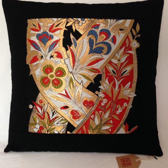Vintage Japanese Fukuro Obi Panel Cushion Cover  Black by Setsuri