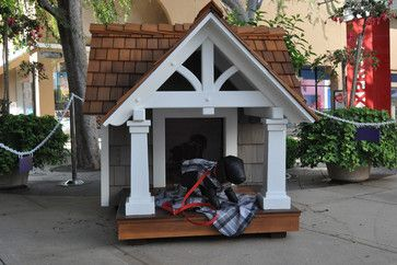 Craftsman-style doghouse (!) made of cedar shingle siding and ipe wood flooring It's big enough for one large dog or two small ones to snooze inside or take in the surroundings while standing watch. Seriously, I'm kicking the dog out and living in it myself!