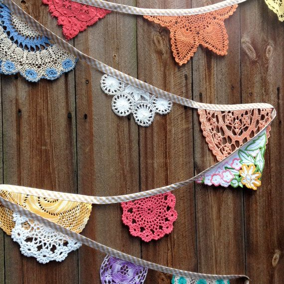 Vintage Doily Wedding Bunting Summer Party (Grande Poppy and Primrose) Handmade Crochet in Pink, Turquoise, Yellow and White by Daisies Blue www.daisiesblue.co.uk