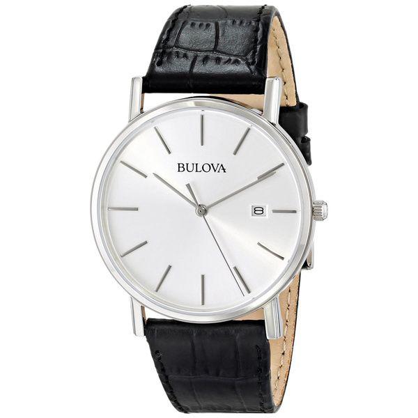 Bulova Men's 96B104 Black Leather Strap Date Watch   Overstock.com Shopping - The Best Deals on Bulova Men's Watches