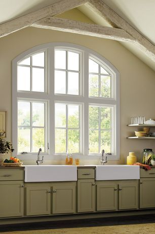 Traditional Kitchen with Wood counters, High ceiling, One-wall, Arched window, Farmhouse Sink, Marvin Special Shape Round Top