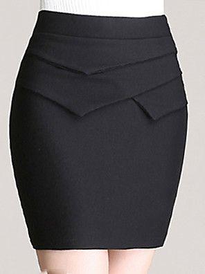 De las mujeres Faldas - Sobre la rodilla Vintage / Sexy / Bodycon / Fiesta / Para Trabajo Elástico -Poliéster / Elástico / Mezclas de