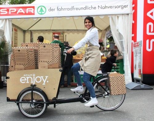 Shopping and Cycling With the Saddle Bag Made of Cardboard