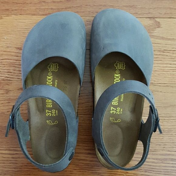 Birkenstocks Elephant gray Mary Jane flats Birkenstock Shoes Mules & Clogs