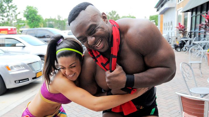 Backstage at WWE NXT. Bayley and Big E Langston.