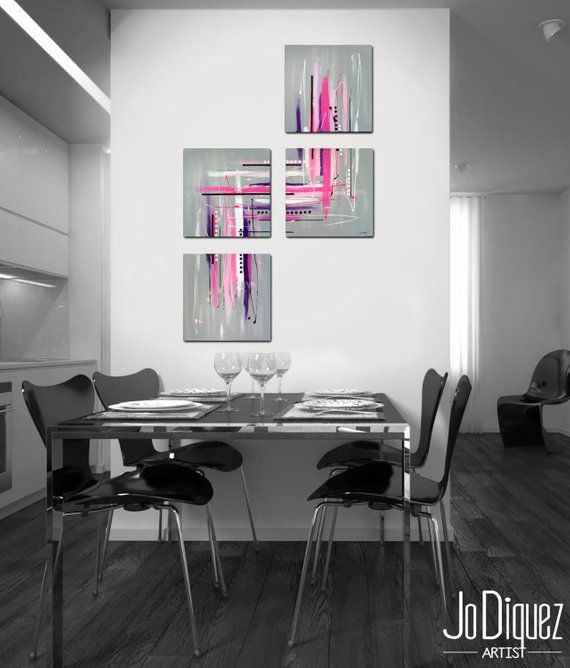 4 Piece Canvas Art 40x26 Large Painting Contemporary Y Modern Wall Pink In 2018 Pintura Pinterest Акрил