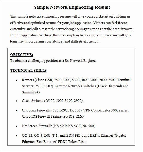 Network Engineer Resume Sample Beautiful Free 8 Network Engineer Resume Templates In Free Samp Network Engineer Job Resume Samples Resume Template Professional