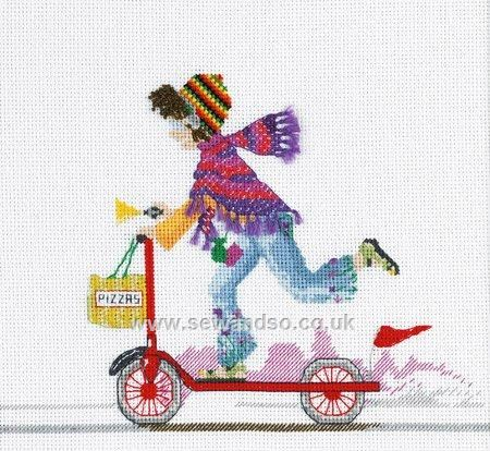 Buy Scooter Ride Cross Stitch Kit Online at www.sewandso.co.uk