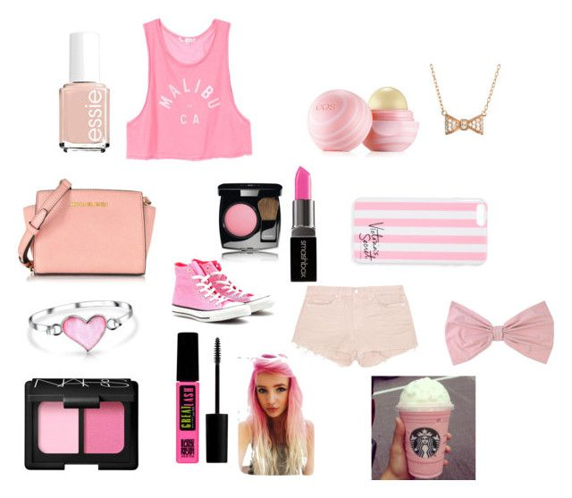 """""""COLOUR"""" by tiggerlilyxoxo ❤ liked on Polyvore featuring J Brand, Eos, Essie, Converse, Victoria's Secret, Michael Kors, PINK BOW, Bling Jewelry, Smashbox and Maybelline"""