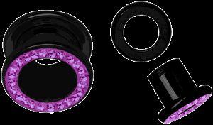 Piercing Tunnel schwarz + Steine und Überzug, Außengewinde pink