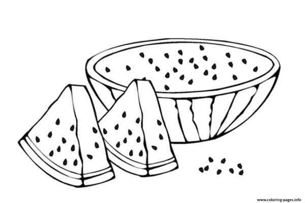 Fruit Sliced Watermelon Coloring Pages Printable Vegetable