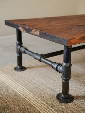 DIY Rustic Industrial Coffee Table Originally pinned by Linda Jacobs onto Home Decor and DIY Projects