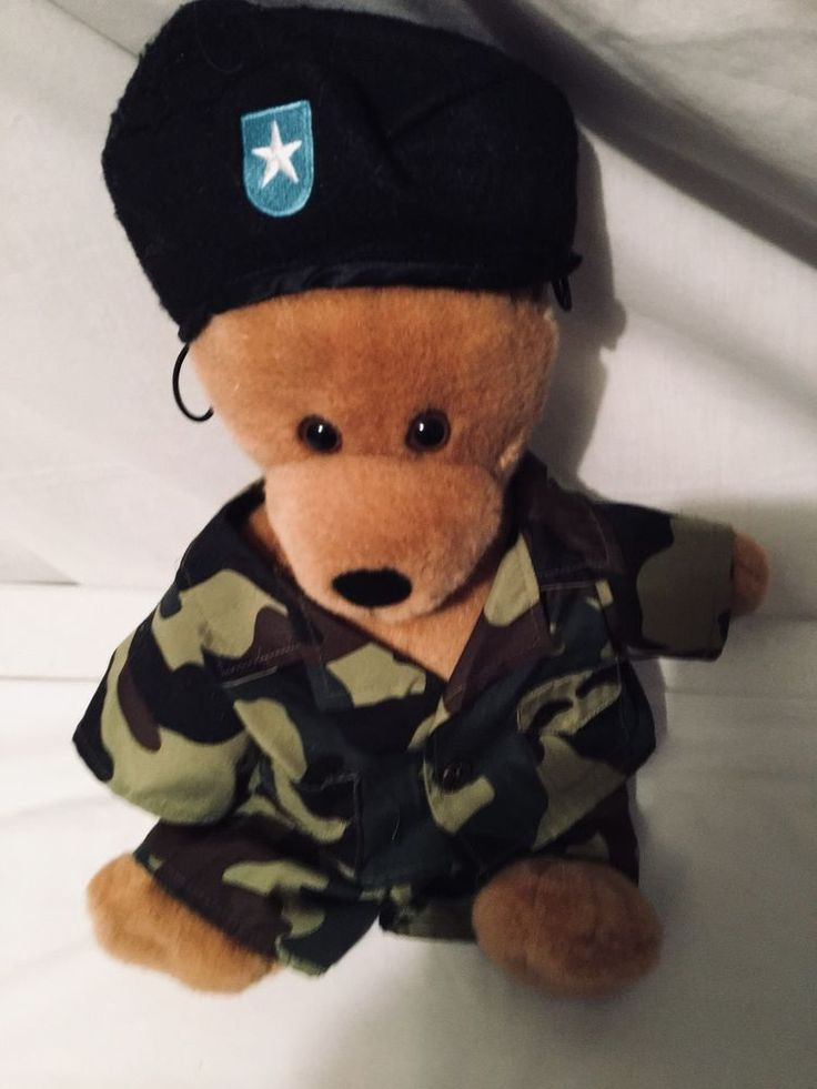 Build A Bear Military Camoflage Puppy Brown  Dog Army Beret Hat Plush 13 Ins  | eBay