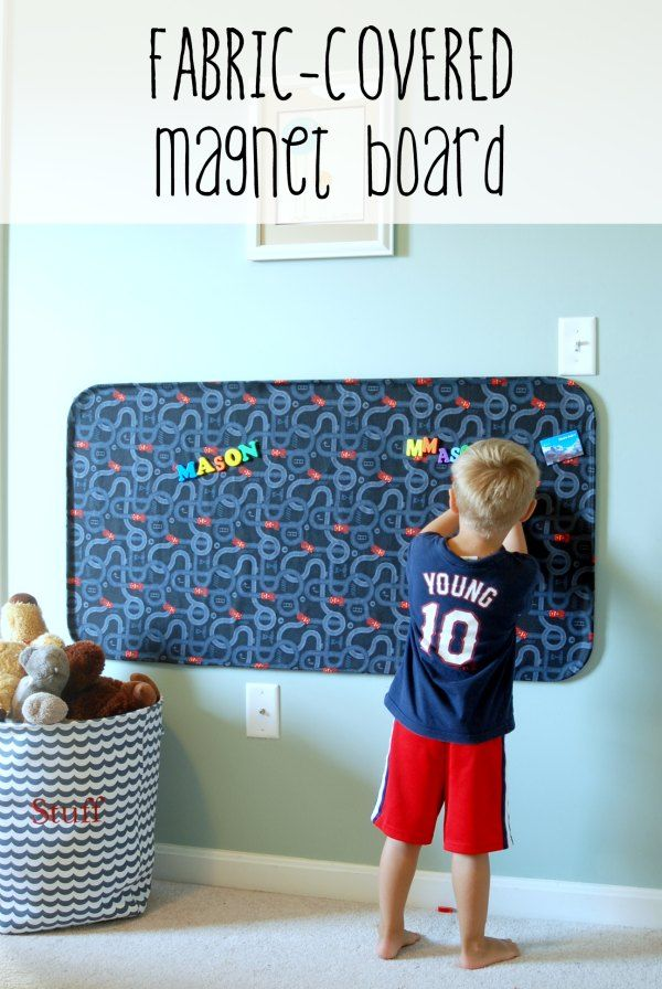 MAKE YOUR MAGENTIC BOARD MATCH YOUR DECOR, instead of stick out like a sore thumb!    Make this huge fabric-covered magnet board for less than $20!
