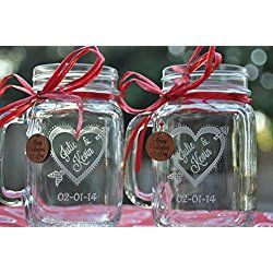 Valentine's Day Mason Jars Heart and Arrow with Handcrafted Charms