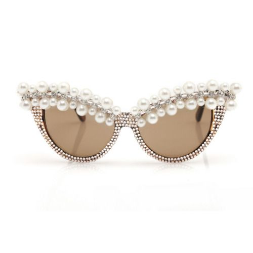 Pearls and rhinestones on retro cat-eye glasses - YOWZA!