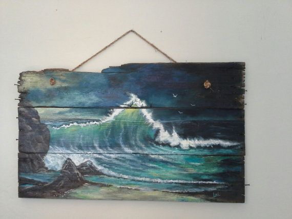 Original ocean seascape painting on Reclaimed by Loriluvscolors, $159.95