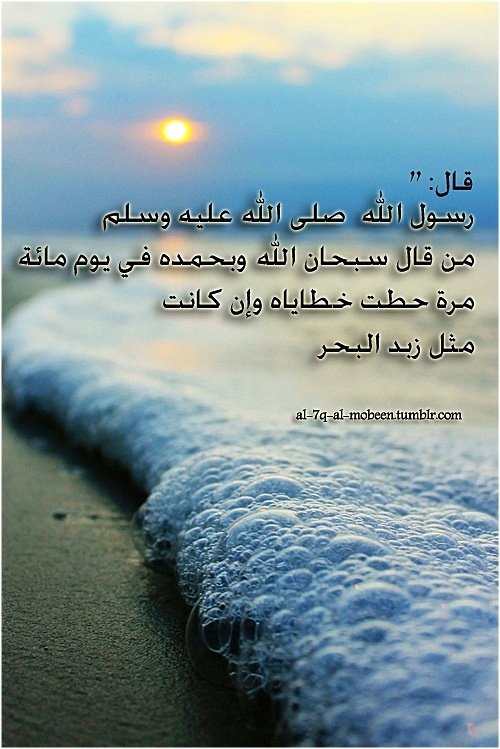 "The Messenger of Allah ﷺ has said: ""Whoever says subhanAllahi wa bihamdihi (all glory and praise belong to Allah) a hundred times on a day will have his sins removed even if they are like the foam of the sea."