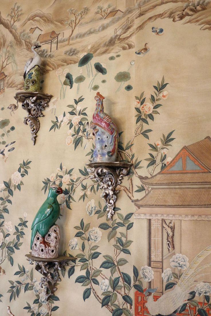 456 best asian design images on pinterest asian interior for Chinoiserie mural wallpaper