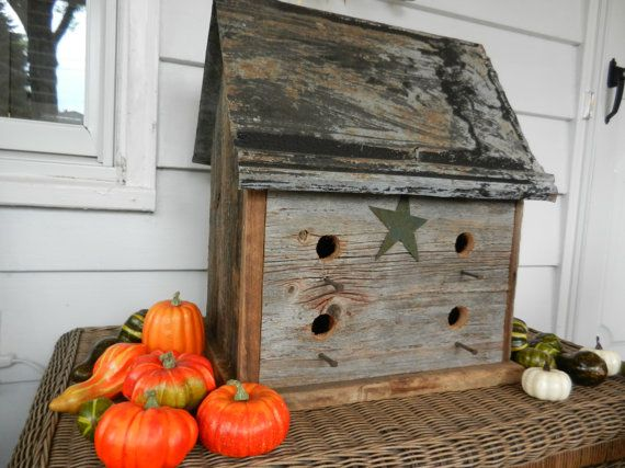 Primitive Birdhouse by OhioWoodandIronWorks on Etsy, $110.00
