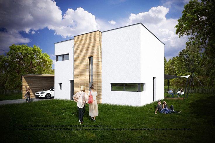 Dvoupodlažní rodinný dům o velikosti bytové jednotky 5+kk se zastřešením pro automobil / The standard design two-storey house about the size of housing unit 5 + kk with shelter for a car