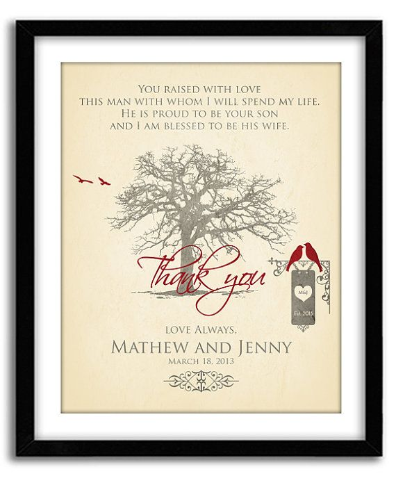 Wedding Gift for Parents Of Groom Thank You by GoodNightOwlDesigns, $20.00