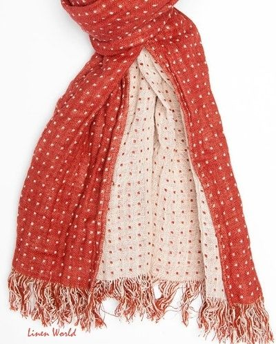 Red LINEN Scarf Red & White dotted Dobby weave by LinenWorld