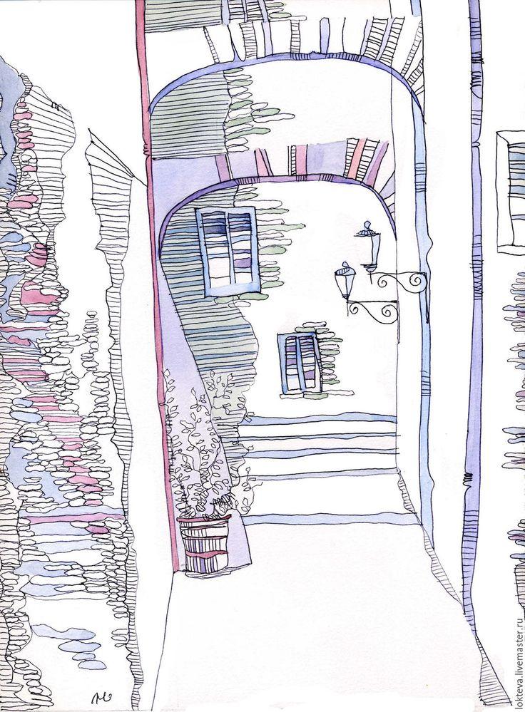 Купить Переулок Копальбио. Тоскана. Италия - бледно-сиреневый, городской пейзаж, городской стиль, италия