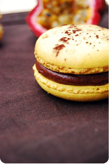 Chocolate & passion fruit macarons