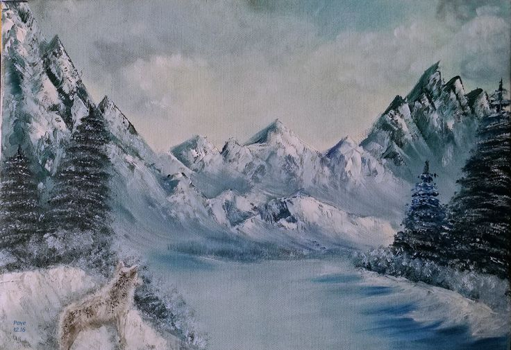 Winter mountains landscape, oil by NotOKFun on DeviantArt